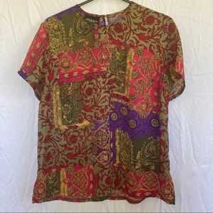 Vintage Stitches Multicolored Top Size 12